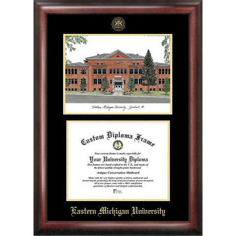 Eastern Michigan University Gold Embossed Diploma Frame with Limited Edition Lithograph