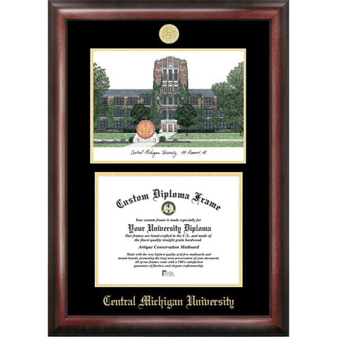 Central Michigan University Gold Embossed Diploma Frame with Limited Edition Lithograph