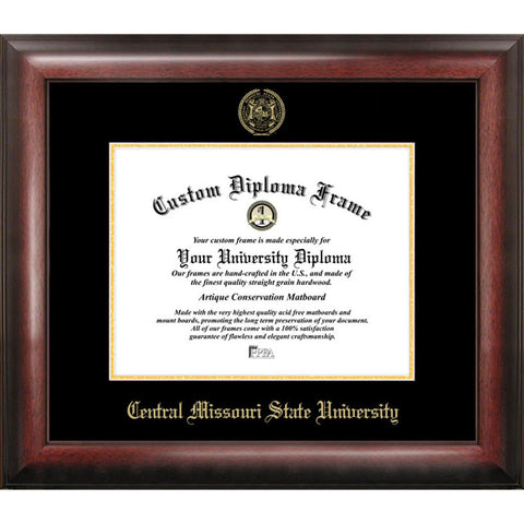 Central Missouri State University Gold Embossed Diploma Frame