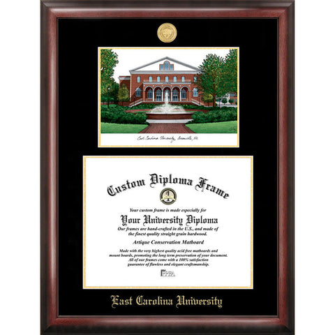 East Carolina University Gold Embossed Diploma Frame with Limited Edition Lithograph