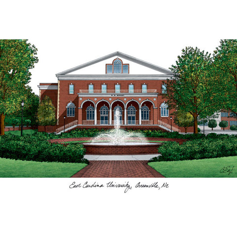 East Carolina University Campus Images Lithograph Print