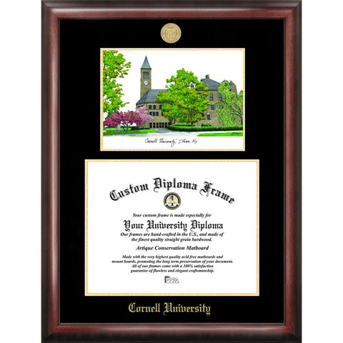 Cornell University Gold Embossed Diploma Frame with Limited Edition Lithograph