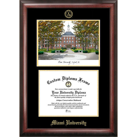 Miami University Ohio Gold Embossed Diploma Frame with Limited Edition Lithograph