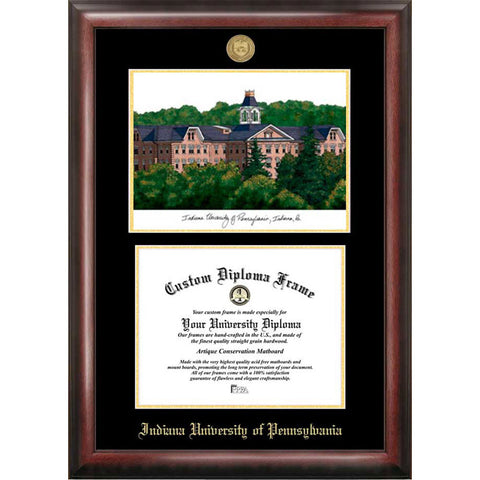 Indiana University of Pennsylvania Gold Embossed Diploma Frame with Limited Edition Lithograph