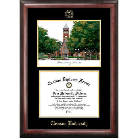 Clemson University Gold Embossed Diploma Frame with Limited Edition Lithograph