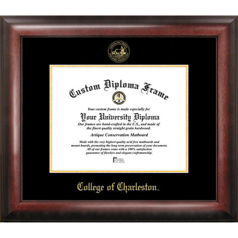 College of Charleston Gold Embossed Diploma Frame