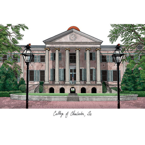 College of Charleston Campus Images Lithograph Print