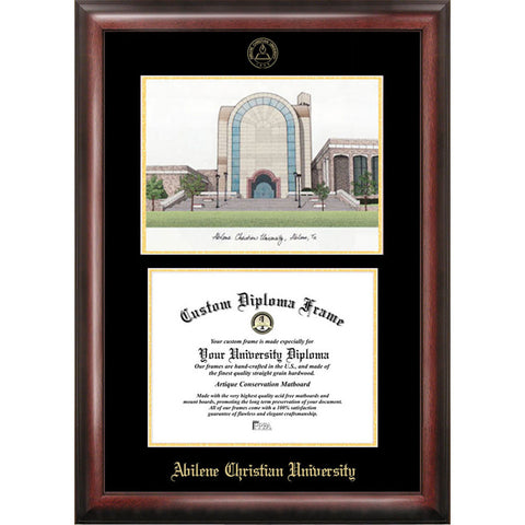 Abilene Christian University Gold Embossed Diploma Frame with Limited Edition Lithograph
