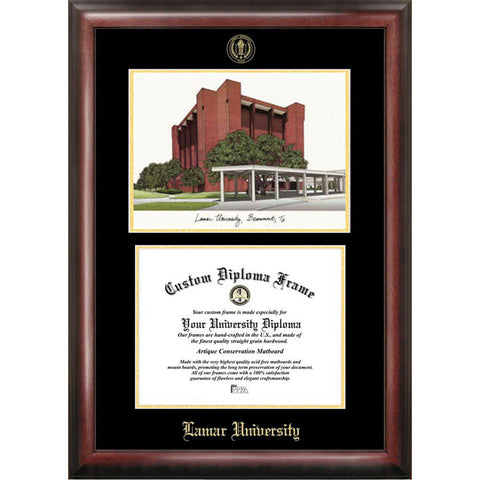 Lamar University Gold Embossed Diploma Frame with Limited Edition Lithograph