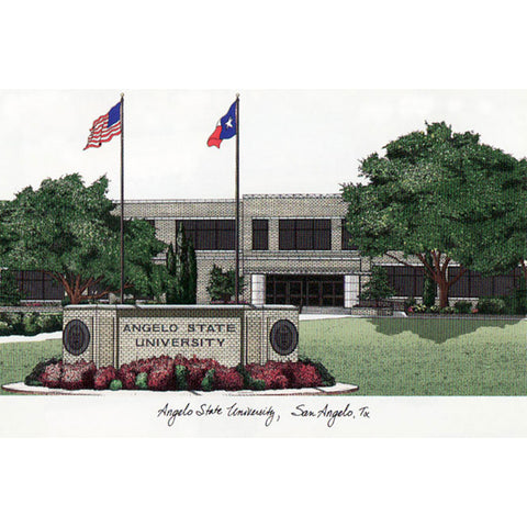 Angelo State University Campus Images Lithograph Print