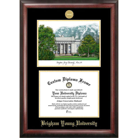 Brigham Young University Gold Embossed Diploma Frame with Limited Edition Lithograph