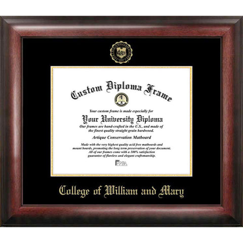 College of William and Mary Gold Embossed Diploma Frame