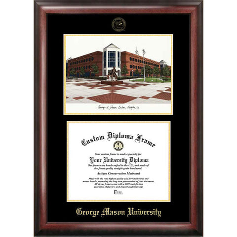 George Mason University Gold Embossed Diploma Frame with Limited Edition Lithograph