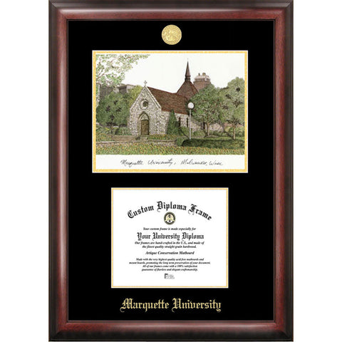 Marquette University Gold Embossed Diploma Frame with Limited Edition Lithograph