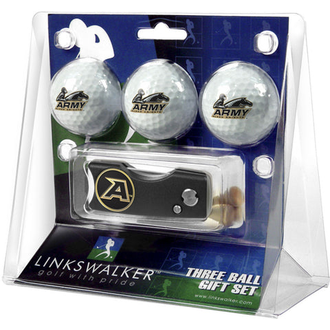 Army Black Knights NCAA 3 Golf Ball Gift Pack w/ Spring Action Divot Tool