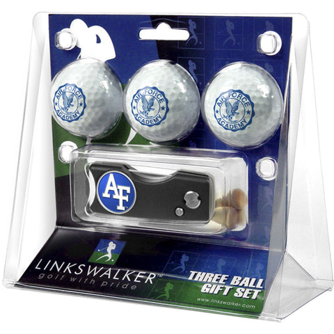 Air Force Falcons NCAA 3 Golf Ball Gift Pack w/ Spring Action Divot Tool