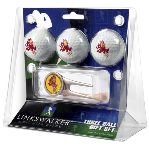 Arizona State Sun Devils NCAA 3 Ball Gift Pack w/ Cap Tool