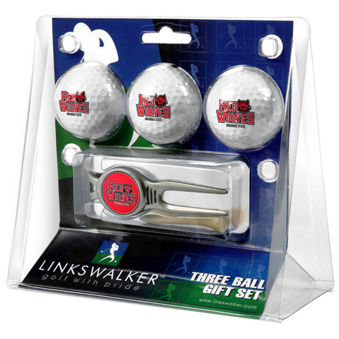 Arkansas State Red Wolves NCAA 3 Ball Gift Pack w/ Kool Tool