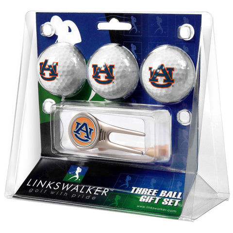 Auburn Tigers NCAA 3 Ball Gift Pack w/ Cap Tool