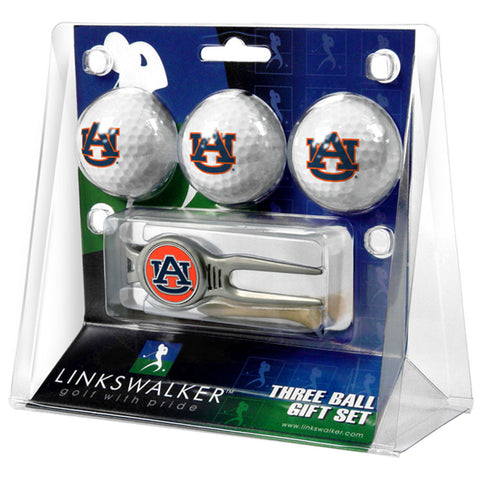 Auburn Tigers NCAA 3 Ball Gift Pack w/ Kool Tool