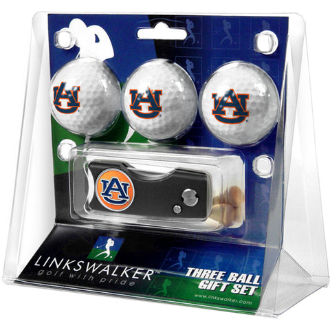 Auburn Tigers NCAA 3 Golf Ball Gift Pack w/ Spring Action Divot Tool