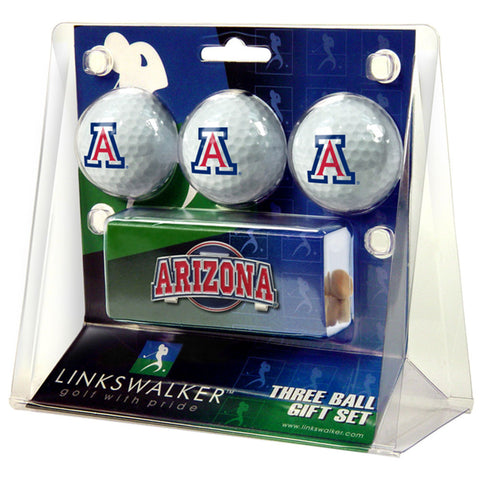 Arizona Wildcats NCAA 3 Golf Ball Gift Pack w/ Hat Clip