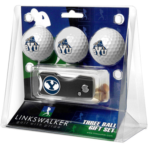 Brigham Young Cougars NCAA 3 Golf Ball Gift Pack w/ Spring Action Divot Tool
