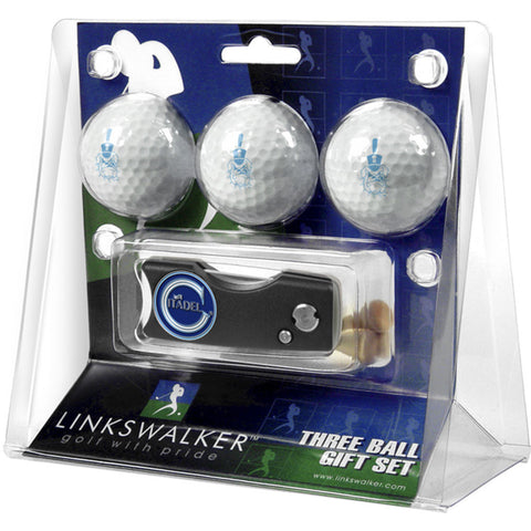 Citadel Bulldogs NCAA 3 Golf Ball Gift Pack w/ Spring Action Divot Tool