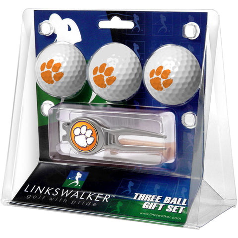 Clemson Tigers NCAA 3 Ball Gift Pack w/ Kool Tool