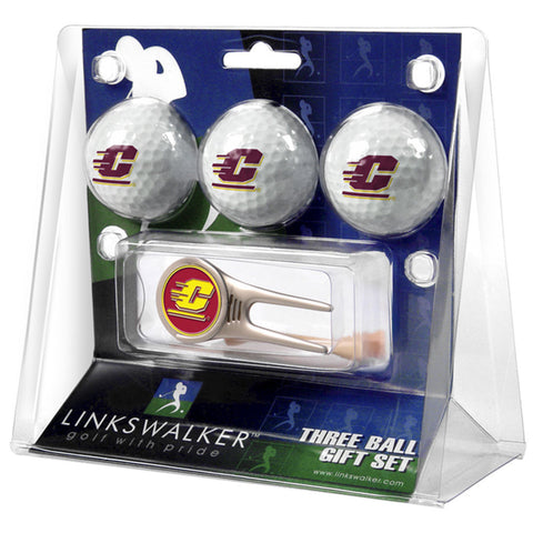 Central Michigan Chippewas NCAA 3 Ball Gift Pack w/ Cap Tool