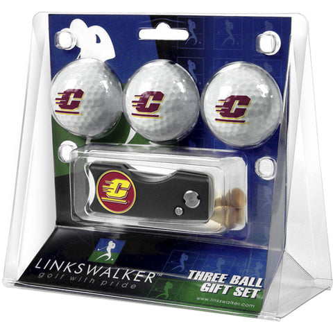 Central Michigan Chippewas NCAA 3 Golf Ball Gift Pack w/ Spring Action Divot Tool
