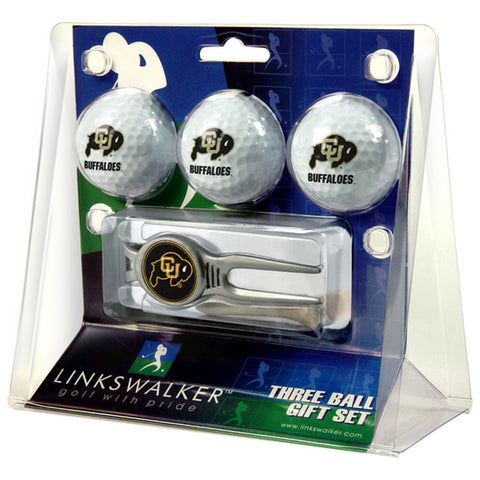 Colorado Golden Buffaloes NCAA 3 Ball Gift Pack w/ Kool Tool