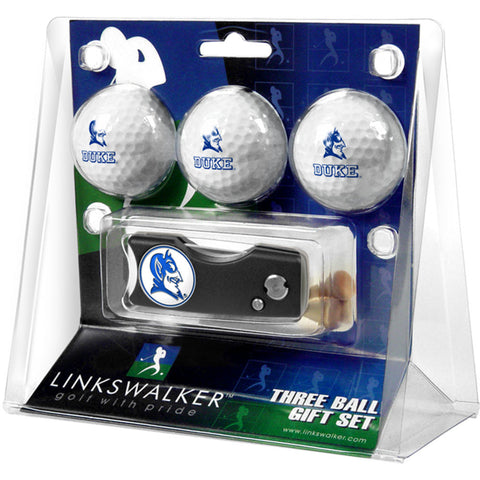 Duke Blue Devils NCAA 3 Golf Ball Gift Pack w/ Spring Action Divot Tool