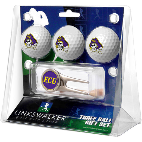 East Carolina Pirates NCAA 3 Ball Gift Pack w/ Cap Tool