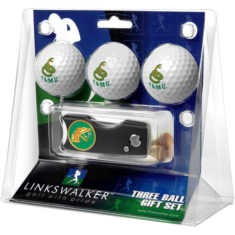 Florida A&M Rattlers NCAA 3 Golf Ball Gift Pack w/ Spring Action Divot Tool