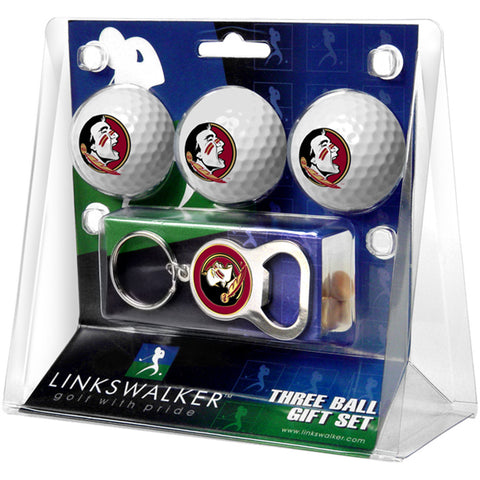 Florida State Seminoles NCAA 3 Ball Gift Pack with Key Chain Bottle Opener