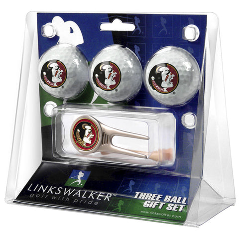 Florida State Seminoles NCAA 3 Ball Gift Pack w/ Cap Tool