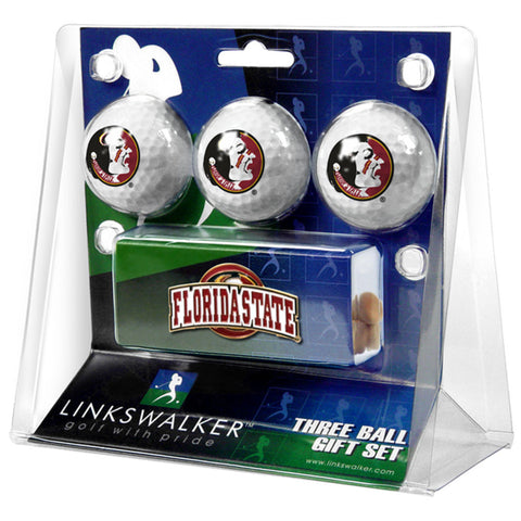Florida State Seminoles NCAA 3 Golf Ball Gift Pack w/ Hat Clip