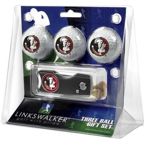 Florida State Seminoles NCAA 3 Golf Ball Gift Pack w/ Spring Action Divot Tool