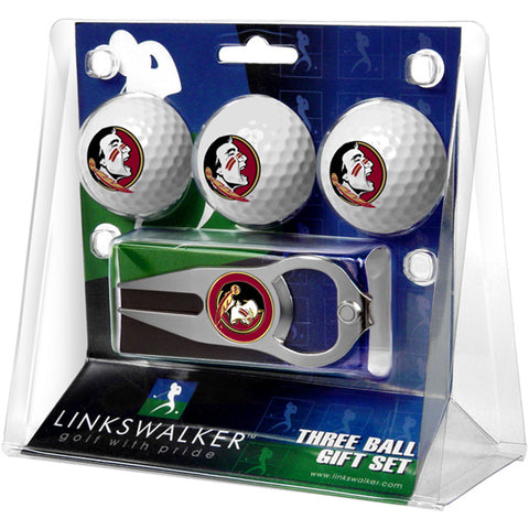 Florida State Seminoles NCAA 3 Ball Gift Pack with Hat Trick Divot Tool