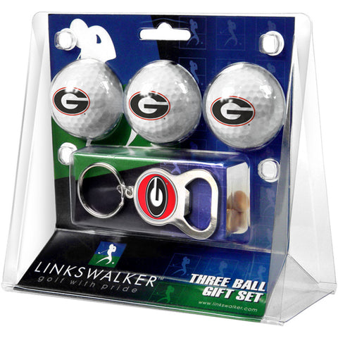 Georgia Bulldogs NCAA 3 Ball Gift Pack with Key Chain Bottle Opener
