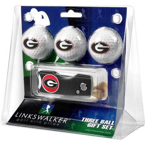Georgia Bulldogs NCAA 3 Golf Ball Gift Pack w/ Spring Action Divot Tool
