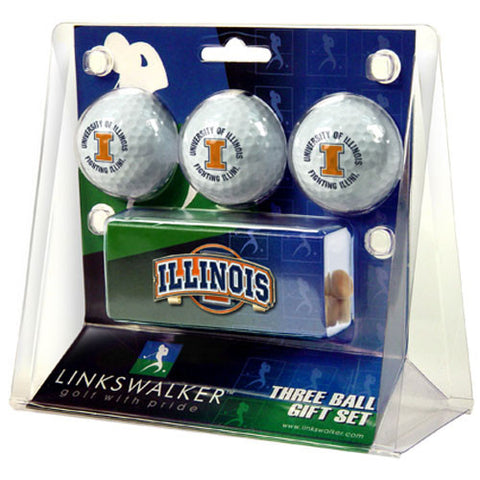 Illinois Fighting Illini NCAA 3 Golf Ball Gift Pack w/ Hat Clip