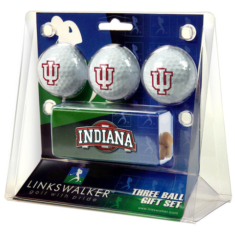 Indiana Hoosiers NCAA 3 Golf Ball Gift Pack w/ Hat Clip