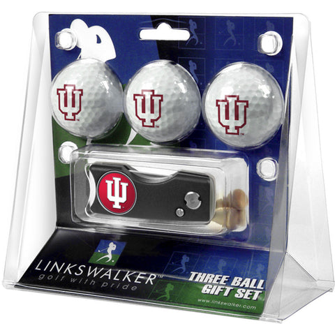 Indiana Hoosiers NCAA 3 Golf Ball Gift Pack w/ Spring Action Divot Tool