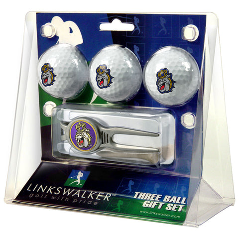 James Madison Dukes NCAA 3 Ball Gift Pack w/ Kool Tool