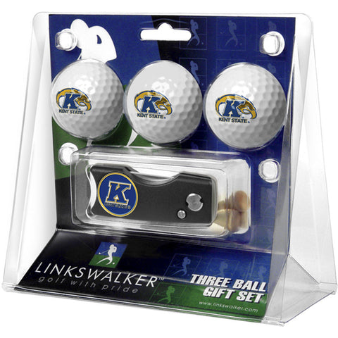 Kent Golden Flashes NCAA 3 Golf Ball Gift Pack w/ Spring Action Divot Tool