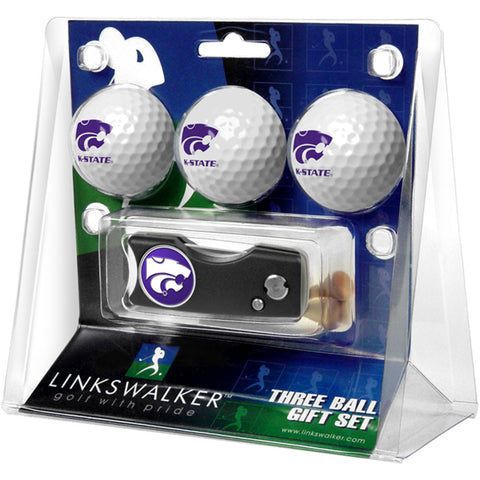 Kansas State Wildcats NCAA 3 Golf Ball Gift Pack w/ Spring Action Divot Tool
