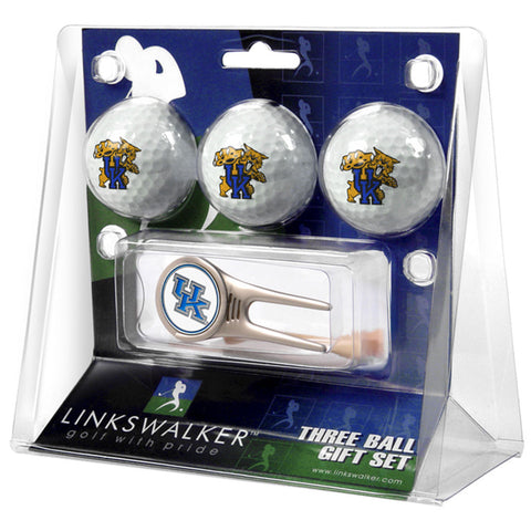 Kentucky Wildcats NCAA 3 Ball Gift Pack w/ Cap Tool