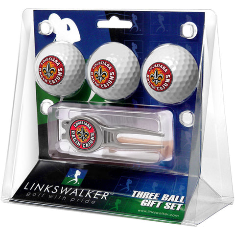 Louisiana Lafayette Ragin Cajuns NCAA 3 Ball Gift Pack w/ Kool Tool